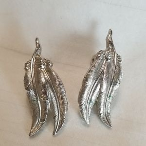 Vintage Monet Silver Feather Clip On Earrings